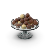 Fancy Glass Bowl with Mixed Chocolate Balls PNG & PSD Images