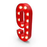 Light Bulb Glowing Alphabet Number 9 PNG & PSD Images