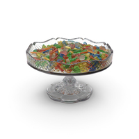 Fancy Crystal Bowl with Mixed Gummy Candy PNG & PSD Images