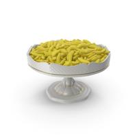 Fancy Porcelain Bowl with Sugar Coated Gummy Bananas PNG & PSD Images