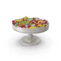 Fancy Porcelain Bowl with Mixed Sugar Coated Candy PNG & PSD Images