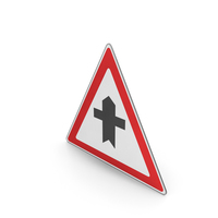 Road Sign Crossroad Ahead With A Minor Road PNG & PSD Images
