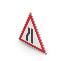 Road Sign Road Narrows On The Left PNG & PSD Images