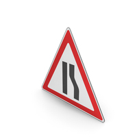 Road Sign Road Narrows On The Right PNG & PSD Images