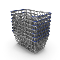 Stack of Supermarket Baskets with Blue Plastic PNG & PSD Images