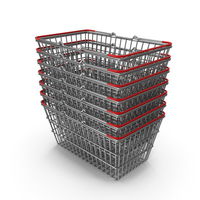 Stack of Supermarket Baskets with Red Plastic PNG & PSD Images