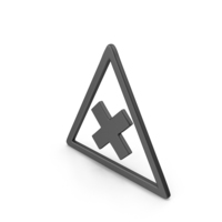 Symbol Road Sign with Cross Black PNG & PSD Images
