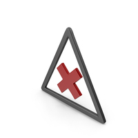 Symbol Road Sign with Cross Black and Red PNG & PSD Images