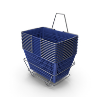 Set of 12 Blue Shopping Baskets with Stand PNG & PSD Images