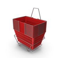 Set of 12 Red Shopping Baskets with Stand PNG & PSD Images