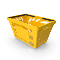 Yellow Shopping Basket with Plastic Handles PNG & PSD Images