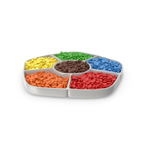 Compartment Bowl with Colored Candies PNG & PSD Images
