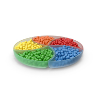 Colored Compartment Bowl with Peanut M&M's PNG & PSD Images