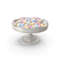 Fancy Porcelain Bowl With Mixed Marshmallows PNG & PSD Images