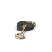 Black and Gold Heart Shaped Padlock and Key PNG & PSD Images