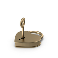 Gold Metal Heart Shaped Padlock and Key PNG & PSD Images