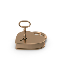 Gold Heart Padlock and Key PNG & PSD Images