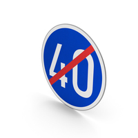 Road Sign End Minimum Speed Limit 40 PNG & PSD Images