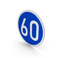 Road Sign Minimum Speed Limit 60 PNG & PSD Images