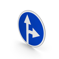 Road Sign Proceed Straight Or Turn Right PNG & PSD Images