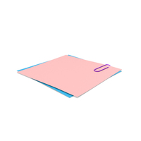 Pink & Blue Papers With Paper Clip PNG & PSD Images