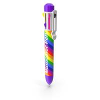 Rainbow Multicolor Retractable Ballpoint Pen PNG & PSD Images