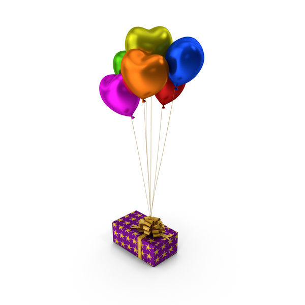 Gift box Multicoloured Heart Balloons PNG & PSD Images