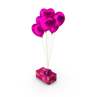 Gift Box Pink Heart Balloons PNG & PSD Images
