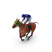 Bay Racing Horse with Jokey Gallop PNG & PSD Images