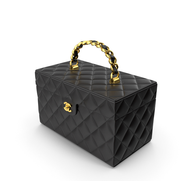 Chanel Vintage Black Quilted Lambskin Cosmetic Bag Train Case PNG & PSD Images