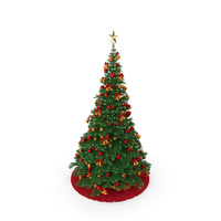 Christmas Tree with Golden Star Topper PNG & PSD Images