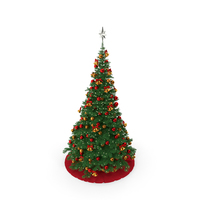 Christmas Tree with Silver Star Topper PNG & PSD Images