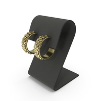Gold Earrings with Curved Top Display PNG & PSD Images