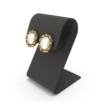 Gold Round Marble Earrings with Curved Top Display PNG & PSD Images