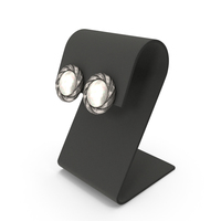 Silver Round Pearls Earrings with Curved Top Display PNG & PSD Images