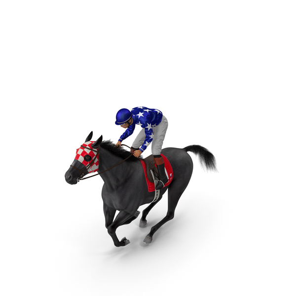 Gallop Black Racing Horse with Jokey Fur PNG & PSD Images
