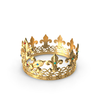 Golden King Crown with Gems PNG & PSD Images