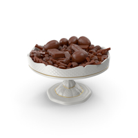 Fancy Porcelain Bowl with Mixed Chocolate Candies PNG & PSD Images