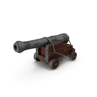 Vessel Cannon With A Wooden Carriage PNG & PSD Images
