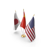 Table Flags USA China Japan PNG & PSD Images