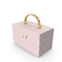 Vintage Pink Quilted Cosmetic Bag Train Case PNG & PSD Images