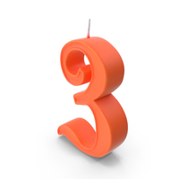 Birthday Candle Number 3 PNG & PSD Images