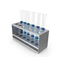 Rack with Half Blue Test Tubes PNG & PSD Images