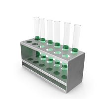 Rack with Half Green Test Tubes PNG & PSD Images