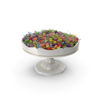Fancy Porcelain Bowl with Mixed Wrapped Hard Candy PNG & PSD Images