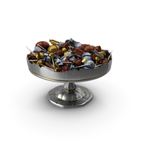 Fancy Silver Bowl with Mixed Fancy Wrapped Candies PNG & PSD Images