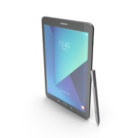 Samsung Galaxy Tab S3 9.7 Black With Pen PNG & PSD Images