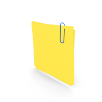 Yellow Papers With Paper Clip PNG & PSD Images