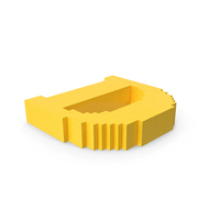 Stylised Cartoon Voxel Pixel Art Letter D on Ground PNG & PSD Images