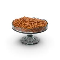 Fancy Glass Bowl With Pretzel Sticks PNG & PSD Images